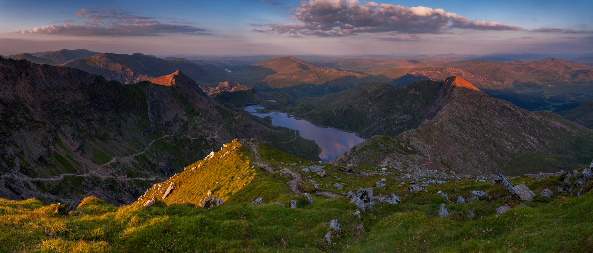 Landscape photography / Snowdon summit view from the Snowdon Ranger Path at Autumn sunrise