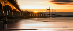 Panoramic landscape photography/ Second Severn Crossing Bridge stunning sunset