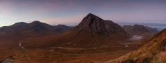 panoramic landscape photography/ Buachaille Etive Mor Glencoe Scottish Highlands panorama.
