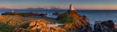 Panoramic landscape photography/ Lighthouse on Anglesey in beautiful sunset light