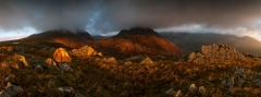 Panoramic Photography Snowdonia Wales /Tryfan and Glyders at summer stormy sunrise