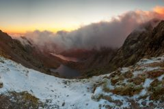 Panoramic landscape photography/Snowdon summit at Winter sunrise