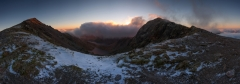 Panoramic landscape photography/Snowdon summit at Winter sunrise Snowdonia North Wales UK