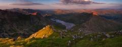 Panoramic landscape photography/ Crib Goch Carnedd Ungain Snowdon Lliwedd Snowdonia Wales at summer sunset panorama
