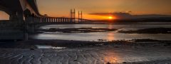 Panoramic landscape photography/ Second Severn Crossing Bridge stunning sunset II
