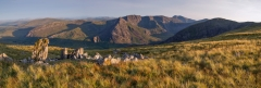 Panoramic Landscape Photography/Tryfan Glyder Fach and Glyder Fawr and the Snowdon summit panoramic photography
