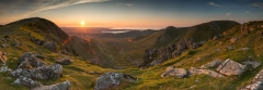 Tryfan, Glyder Fach and Glyder Fawr and the Snowdon summit/Snowdonia Wales panoramic Landscape Photography