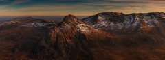 Panoramic Photography Snowdonia Wales/Tryfan, Glyders in last light
