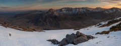 Snowdonia North Wales Winter mountain panoramic photography/Tryfan and Glyders golden hour Winter panorama