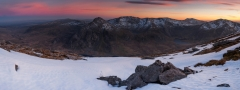 Panoramic Photography Snowdonia Wales/Tryfan Glyders and Snowdon panorama at sunset