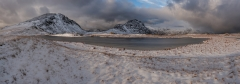 Panoramic Photography Snowdonia Wales, Scotland, Worcester /Tryfan and Glyders at Winter storm panorama III