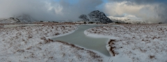Panoramic Photography Snowdonia Wales/Tryfan and Glyders at Winter storm panorama