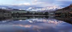 Panoramic Winter landscape Snowdonia Wales- Llynau Mymbyr Snowdon Horseshoe Sunrise