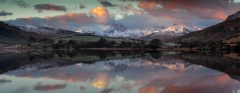 Panoramic landscape photography/Llynau Mymbyr and Snowdon Horseshoe in the background at Winter sunrise