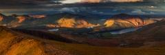 Panoramic landscape photography /Nantlle Ridge and Moel Hebog Autumn sunrise