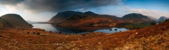 Panoramic landscape photography/Buttermere Lake District at Winter misty sunrise