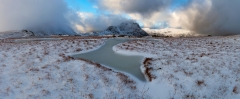 Snowy Panoramic Photography Snowdonia Wales /Tryfan and Glyders at Winter storm panorama