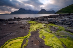 Scotland Landscape Photography/ Cuillin Mountains from Elgol Isle of Skye in the stormy sunset light