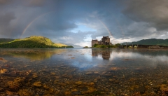 Scotland Landscape Photography/ Rainbow over the Eilean Donan Castle at sunrise