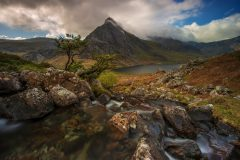 Tryfan Ogwen Valley and Glyders Snowdonia North Wales at Spring