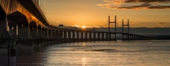 Wales Landscape Photography / Second Severn Crossing Bridge at sunset.