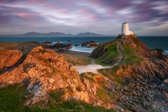 Wales Landscape Photography / Lighthouse on Anglesey in beautiful sunset light