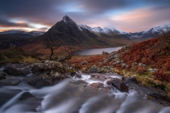 Wales Landscape Photography / Tryfan and Llyn Ogwen Winter at sunrise Snowdonia North Wales