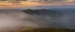 Landscape Photography Worcestershire/ Malvern Hills at misty Autumn sunrise