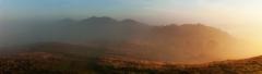 Landscape Photography Worcestershire/Malvern Hills at misty sunrise panorama